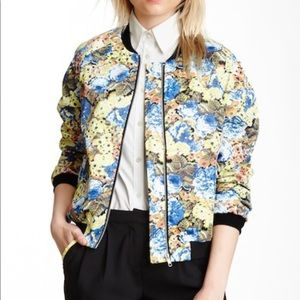 Tulle Sold Out Yellow Floral Satin Bomber Jacket M